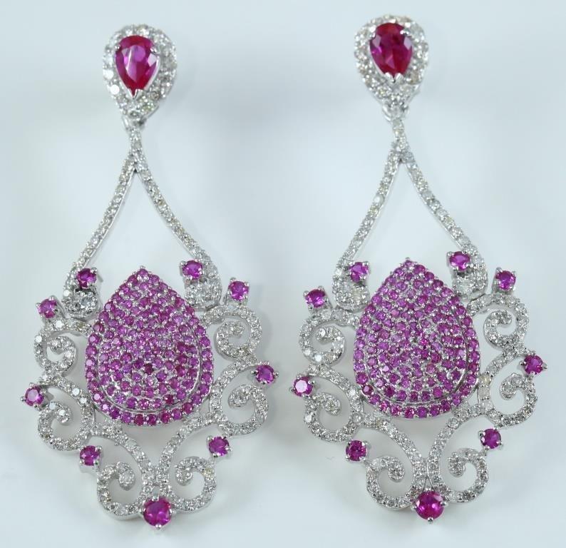 IGI 14 K White Gold Chandelier Diamond & Ruby Earrings