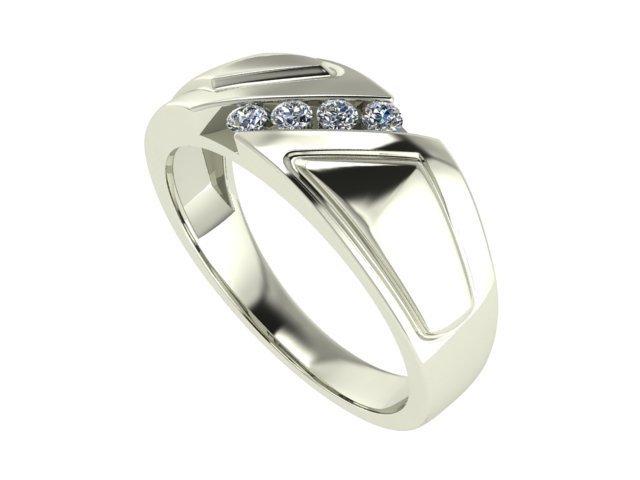 14 K White Gold Mens Diamond Ring