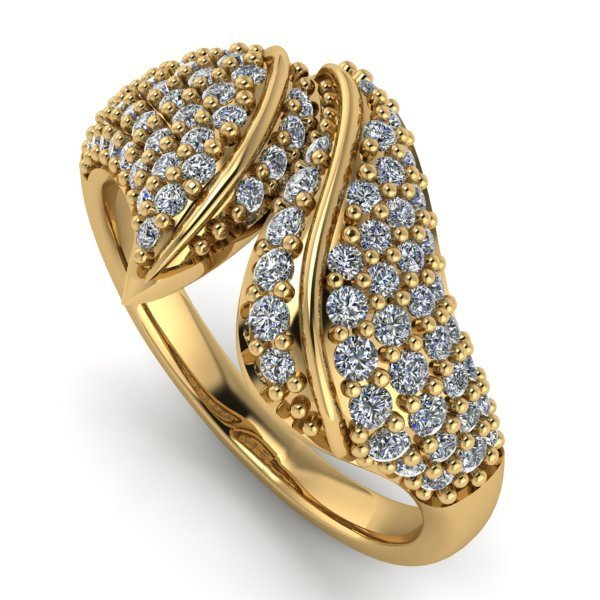 14 K Yelow Gold Designer Diamond Ring