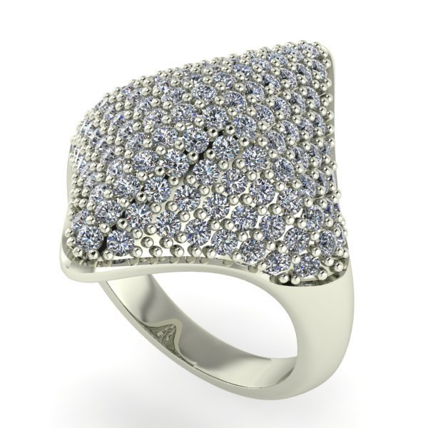 14 K White Gold Designer Diamond Ring