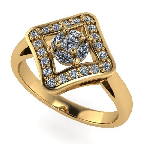 14 K Yellow Gold Designer Diamond Ring