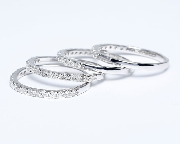 14 K Set of 4 Diamond Rings Made for each other
