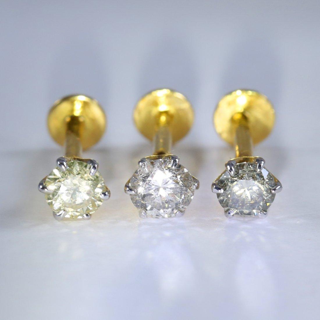 14 K Set of 3 Yellow Gold Diamond Ear Studs/Nose Ring