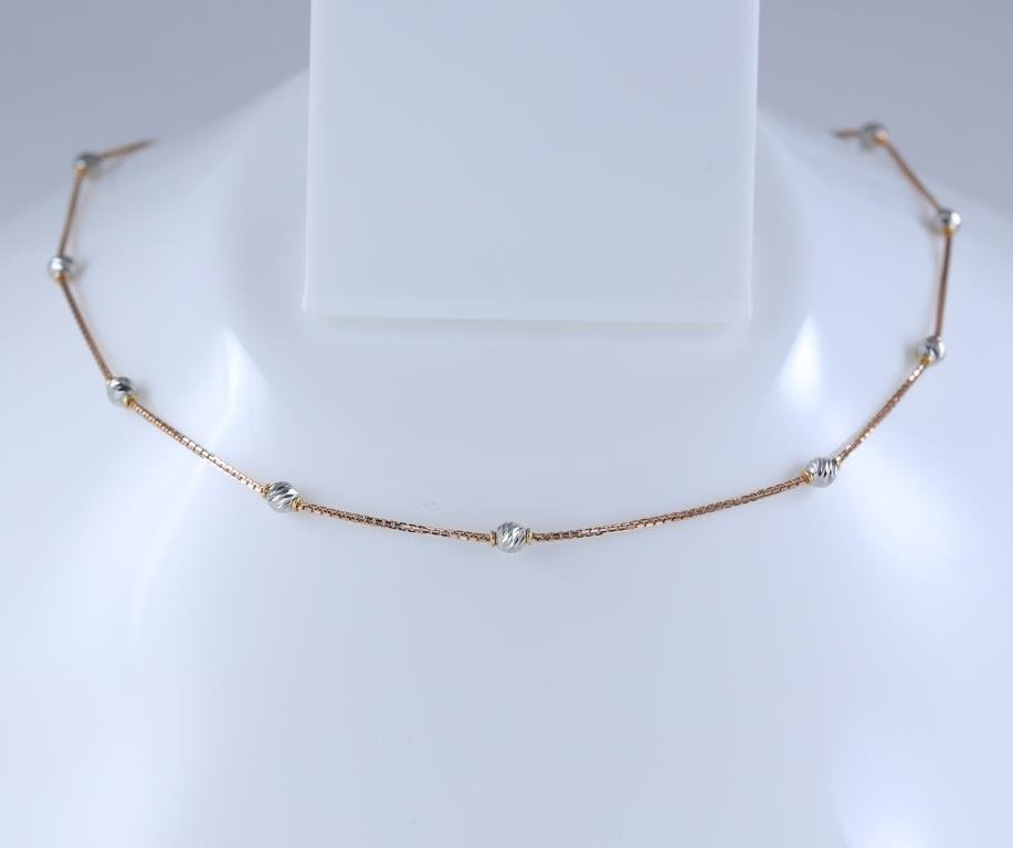 18 K / 750 Rose and White Gold Chain Necklace