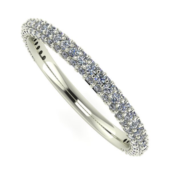 14 K White Gold 3 Row Half Eternity Diamond Ring