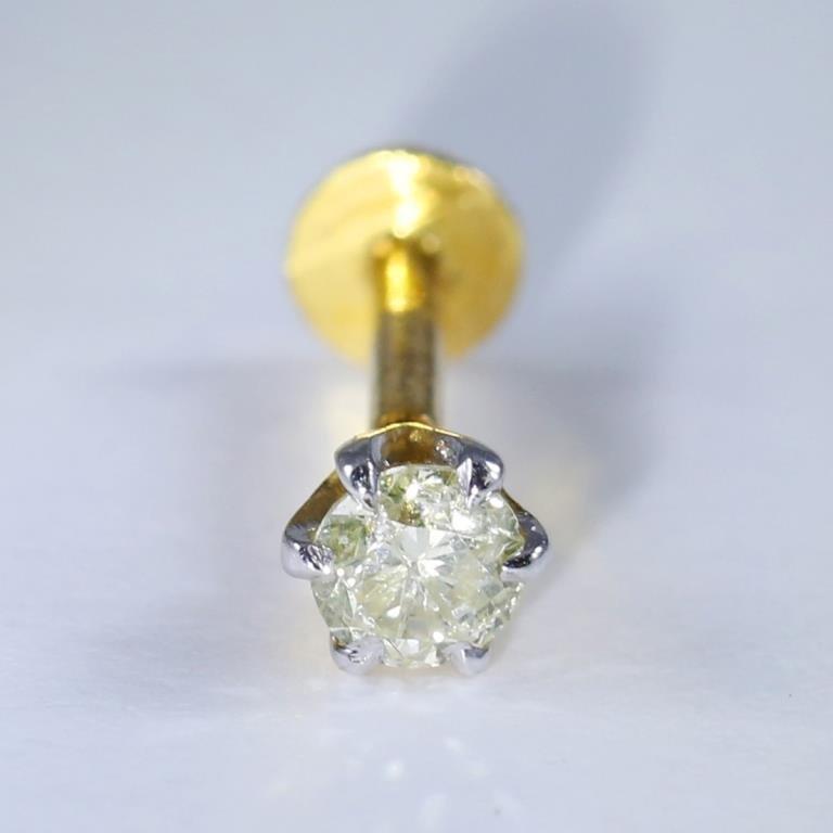 14 K Yellow Gold Diamond Ear Studs/Nose Pin