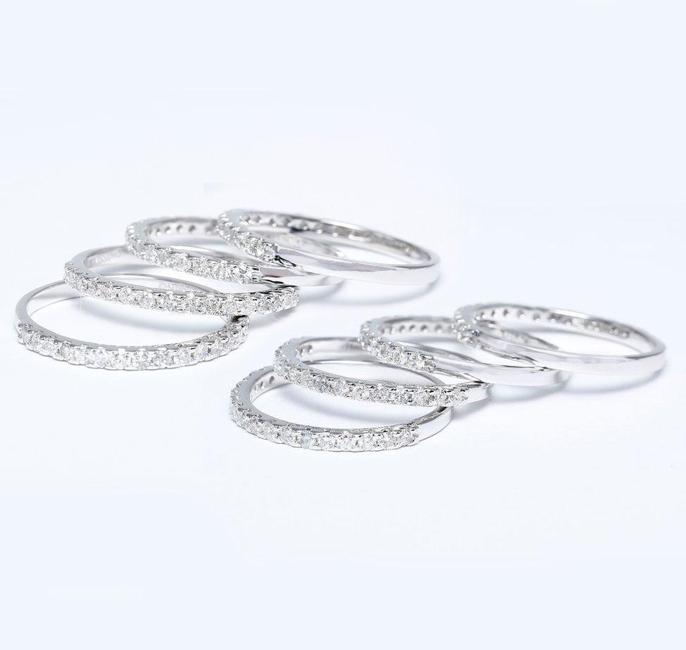 14 K White Gold Set of 8 Diamond Rings Stackable
