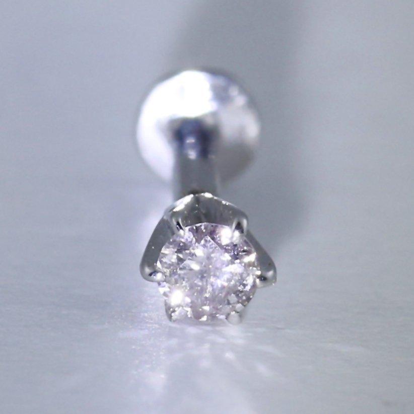 14 K White Gold Diamond Ear Studs/Nose Pin