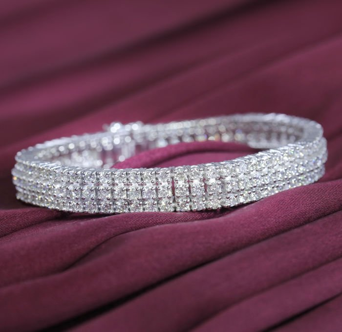 14 K White Gold 3 Line Diamond Tennis Bracelet