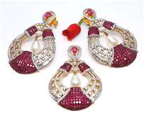 IGI Cert. Diamond, Ruby & Pearl Pendant with Earrings
