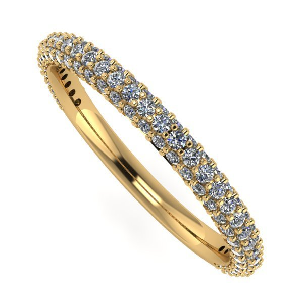 14 K Yellow Gold 3 Row Half Eternity Diamond Ring