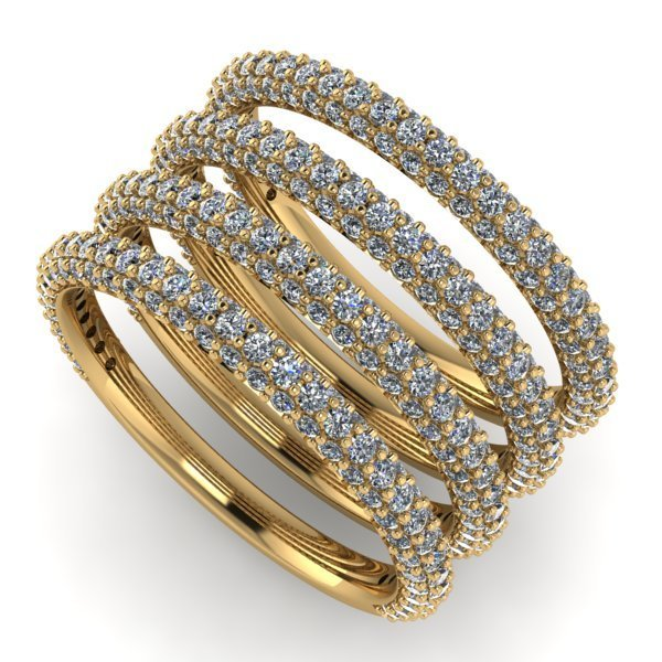 14 K - 3 Row Half Eternity Set of 4 Diamond Rngs