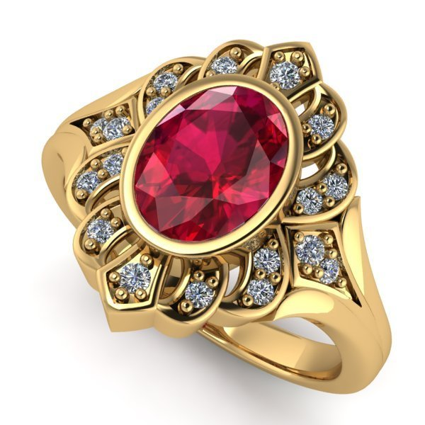 14 K Yellow Gold Diamond and Ruby Ring