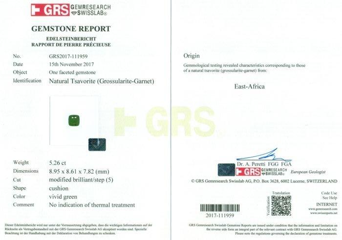 GRS Certified 5.26 ct. Untreated Tsavorite Garnet KENYA - 2