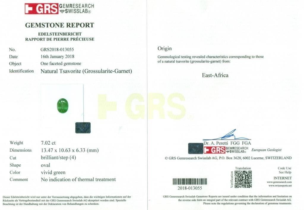 GRS Certified 7.03 ct. Tsavorite Garnet Untreated KENYA - 2