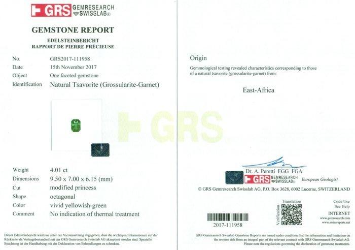 GRS Certified 4.01 ct. Tsavorite Garnet Untreated KENYA - 2