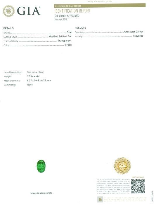 GIA Certified 1.53 ct. Tsavorite Garnet Untreated KENYA - 2