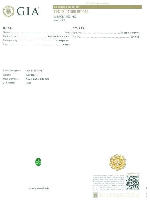 GIA Certified 1.31 ct. Tsavorite Garnet Untreated KENYA - 2