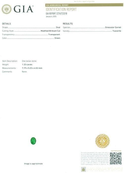 GIA Certified 1.33 ct. Tsavorite Garnet Untreated KENYA - 2