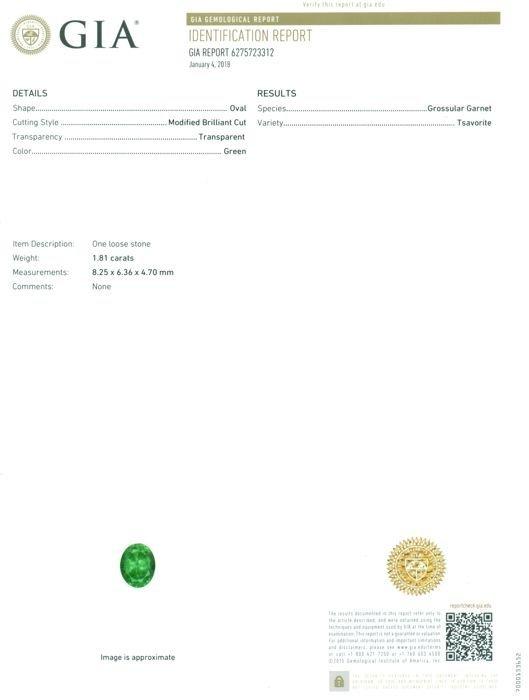 GIA Certified 1.81 ct. Tsavorite Garnet Untreated KENYA - 2