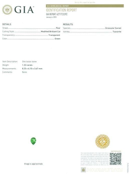 GIA Certified 1.32 ct. Tsavorite Garnet Untreated KENYA - 2
