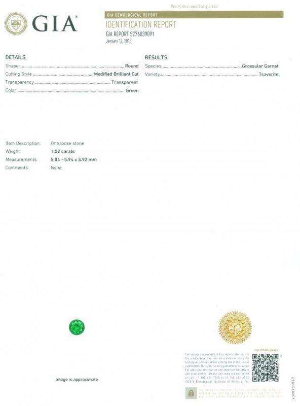 GIA Certified 1.02 ct. Tsavorite Garnet Untreated KENYA - 2