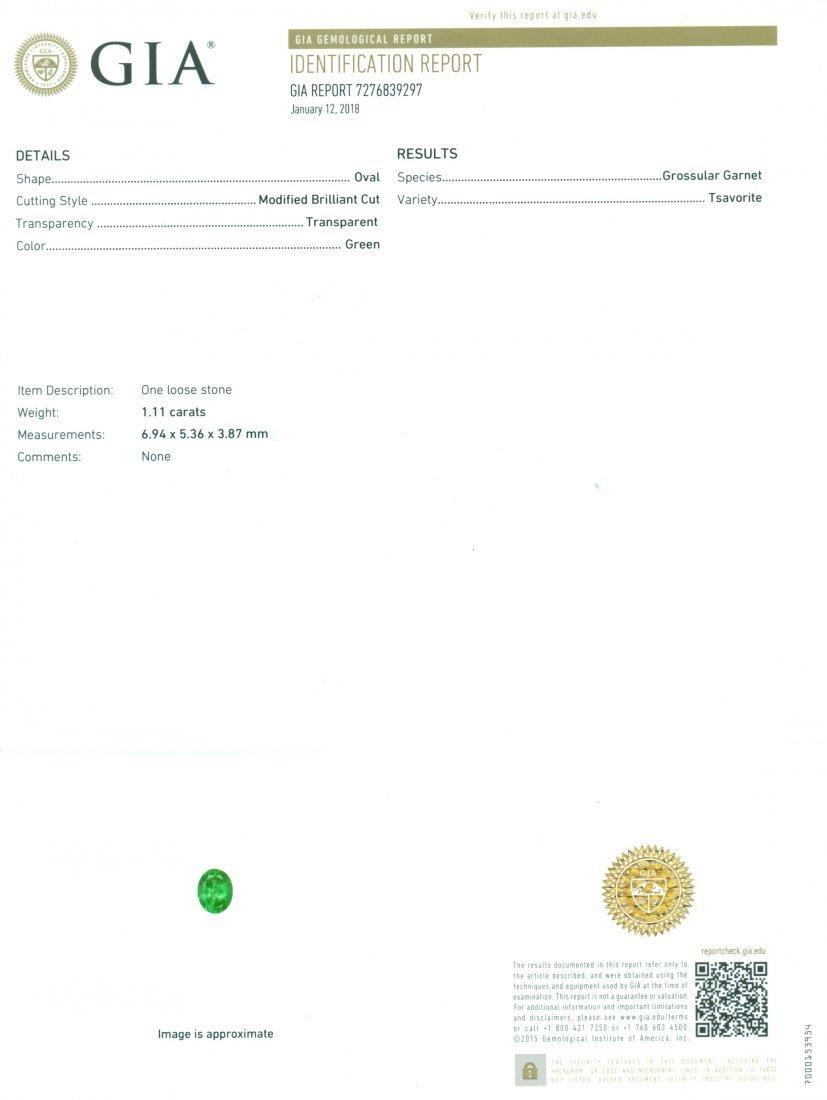 GIA Certified 1.11 ct. Tsavorite Garnet Untreated KENYA - 2