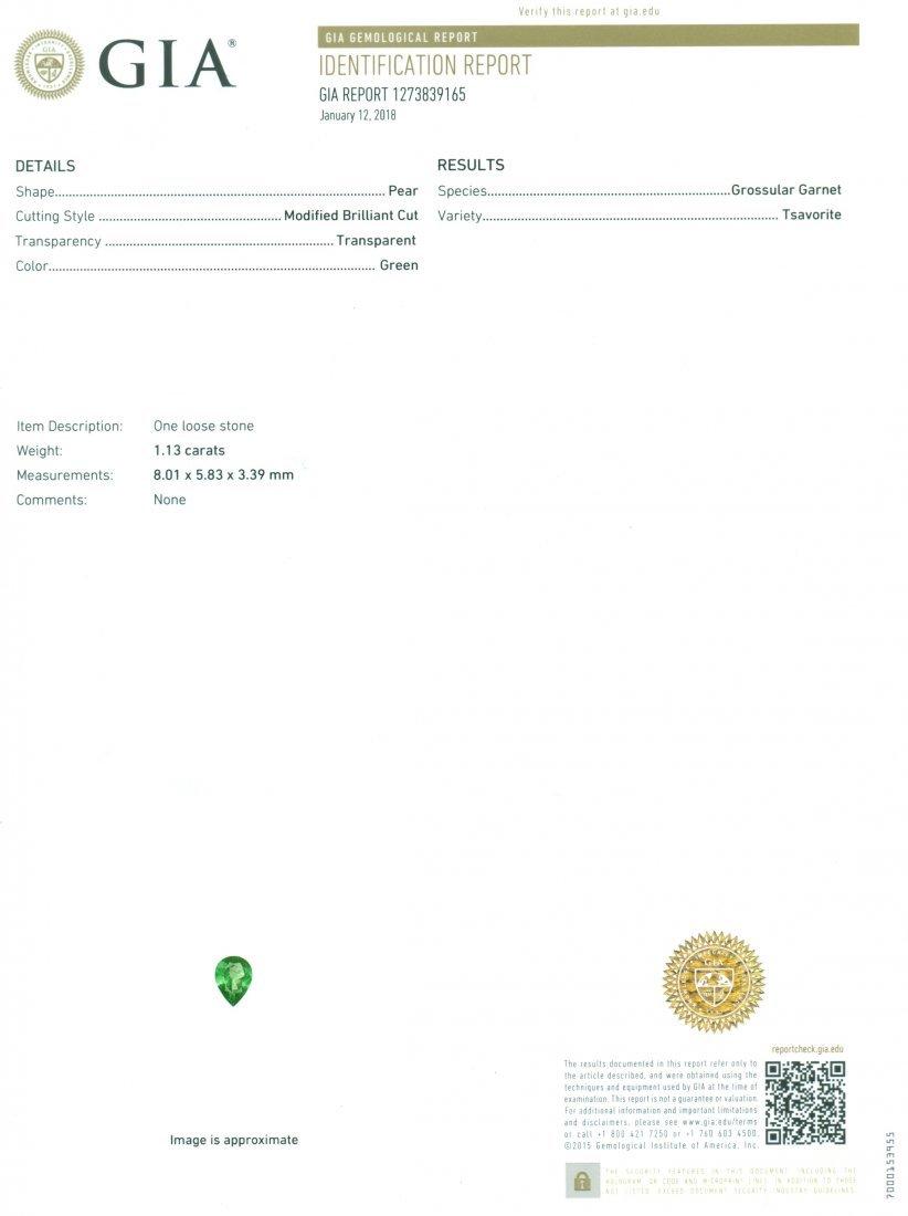 GIA Certified 1.13ct. Tsavorite Garnet UNTREATED KENYA - 2