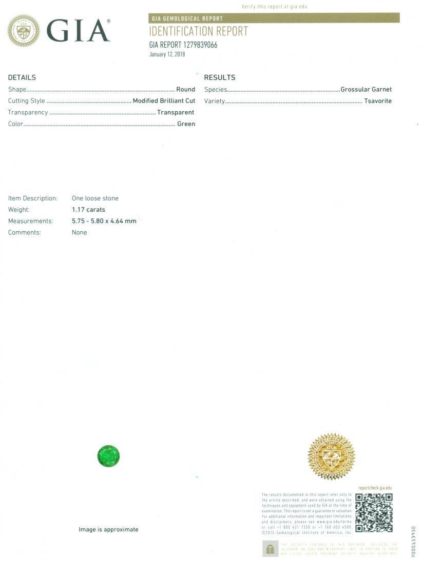 GIA Certified 1.17 ct. Tsavorite Garnet UNTREATED KENYA - 2