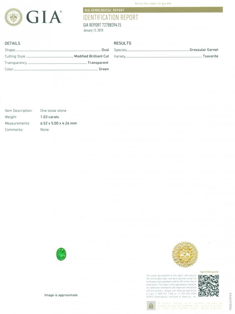 GIA Certified 1.03 ct. Tsavorite Garnet UNTREATED KENYA - 2