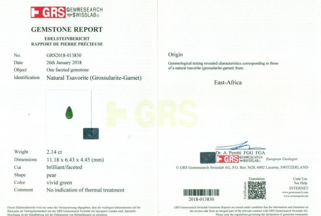 GRS Certified 2.14 ct. Tsavorite Garnet Untreated KENYA - 2