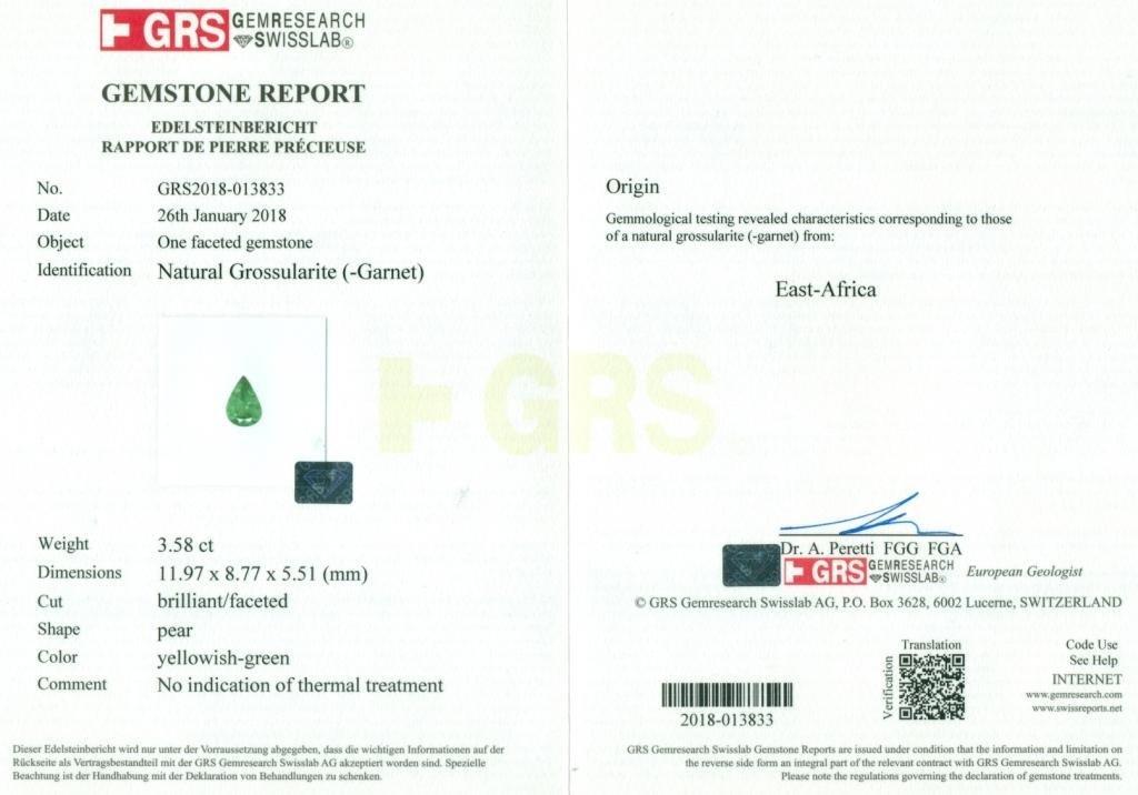 GRS Certified 3.58 ct. Tsavorite Garnet Untreated KENYA - 2