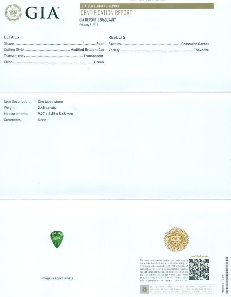 GIA Certified 2.48 ct. Tsavorite Garnet UNTREATED KENYA - 2