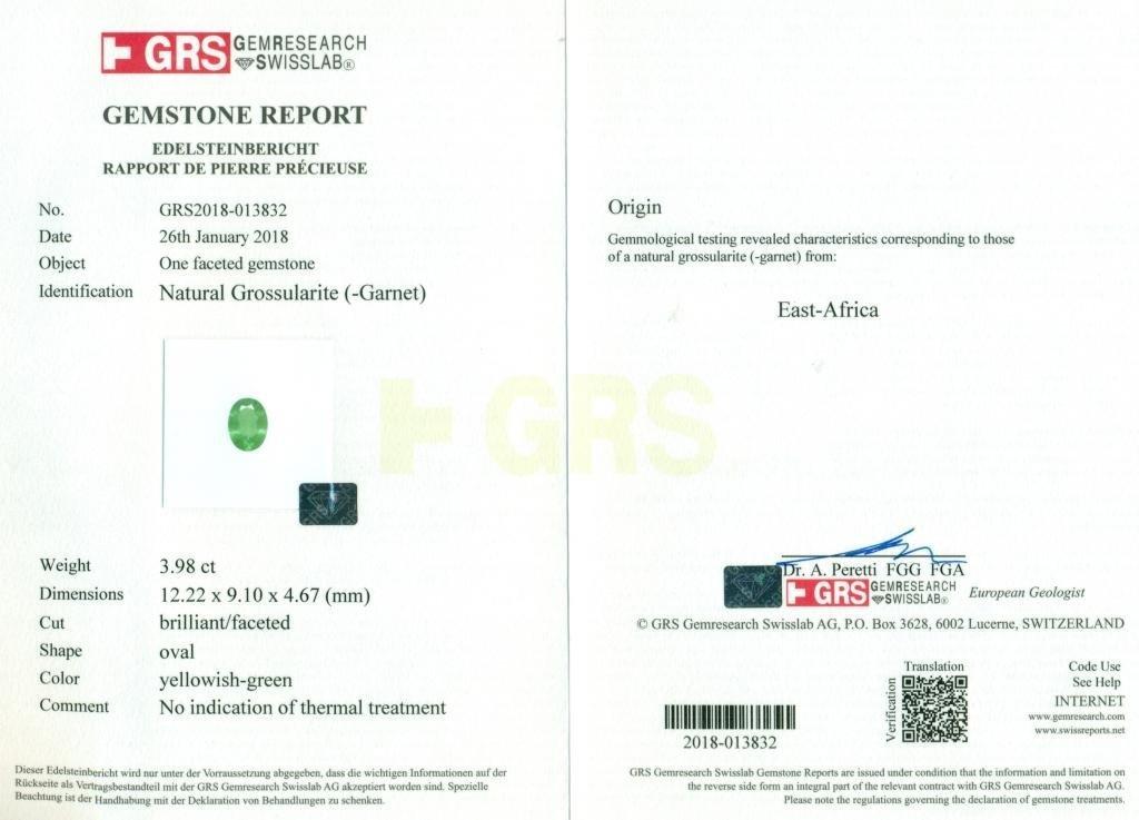 GRS Certified 3.98 ct. Tsavorite Garnet Untreated KENYA - 2
