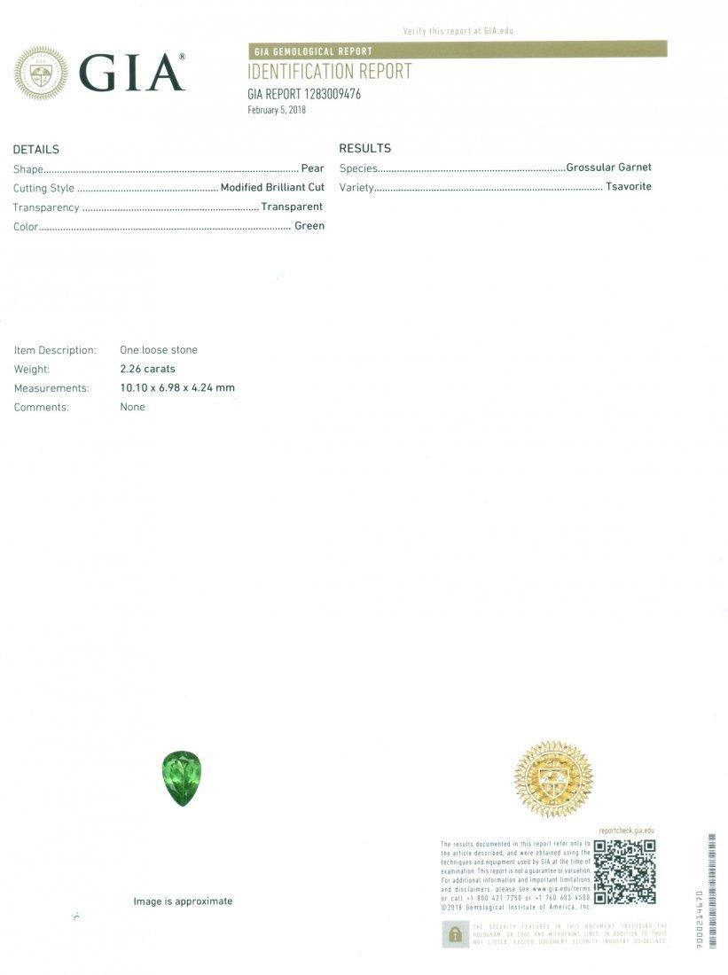 GIA Certified 2.26 ct. Tsavorite Garnet Untreated KENYA - 2