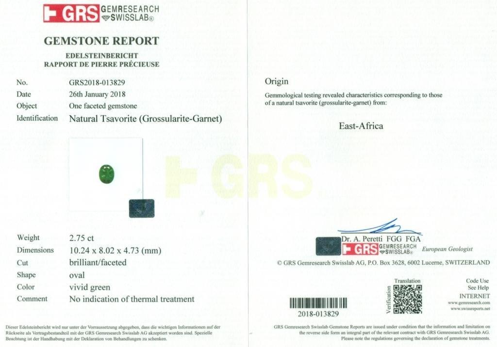 GRS Certified 2.75 ct. Tsavorite Garnet Untreated KENYA - 2