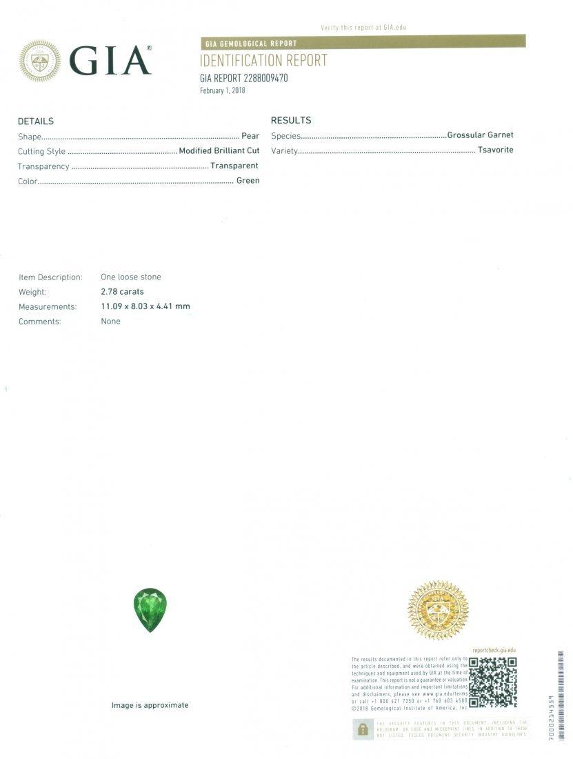 GIA Certified 2.78 ct. Tsavorite Garnet Untreated KENYA - 2