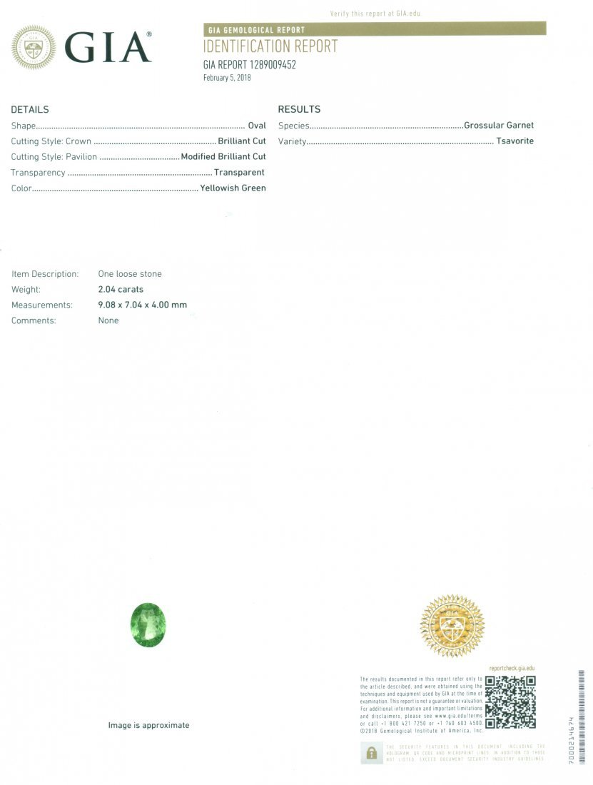 GIA Certified 2.04 ct. Tsavorite Garnet Untreated KENYA - 2