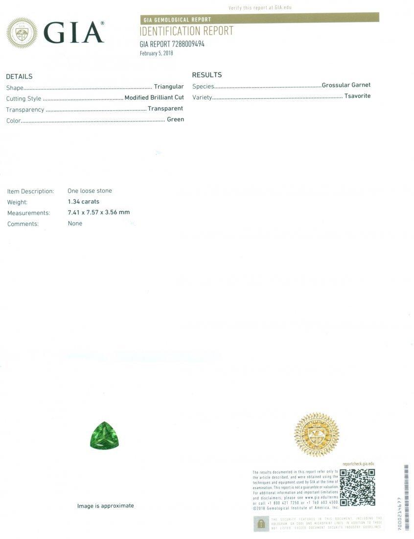 GIA Certified 1.34 ct. Tsavorite Garnet Untreated KENYA - 2