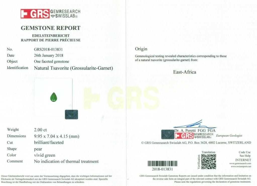 GRS Certified 2.00 ct. Tsavorite Garnet Untreated KENYA - 2