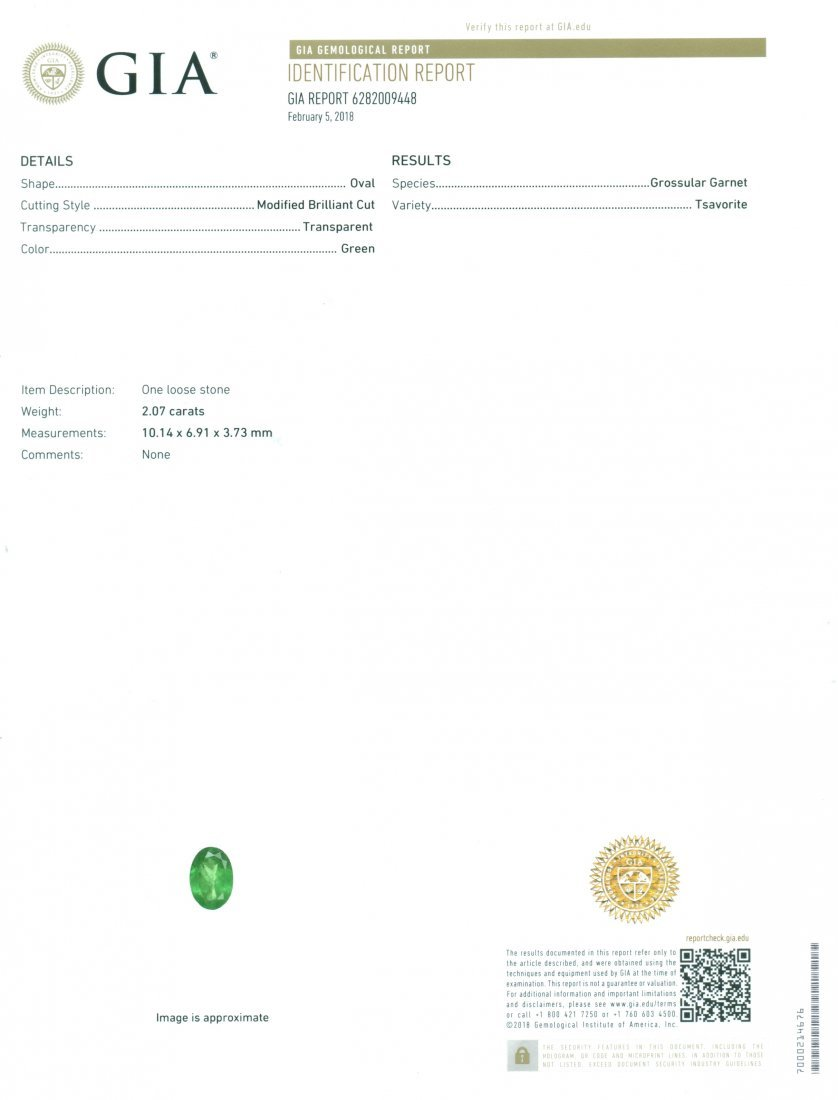 GIA Certified 2.07ct. Tsavorite Garnet Untreated KENYA - 2