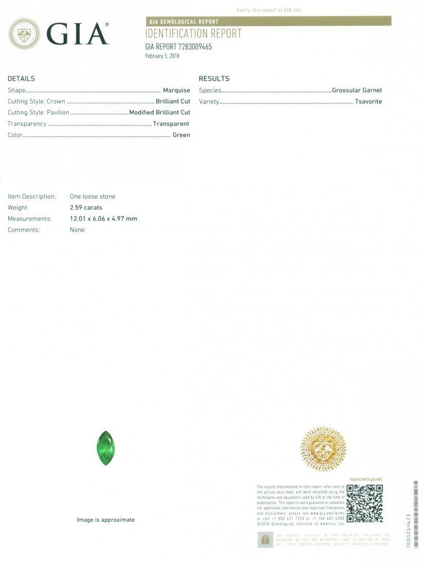 GIA Certified 2.59 ct. Tsavorite Garnet Untreated KENYA - 2