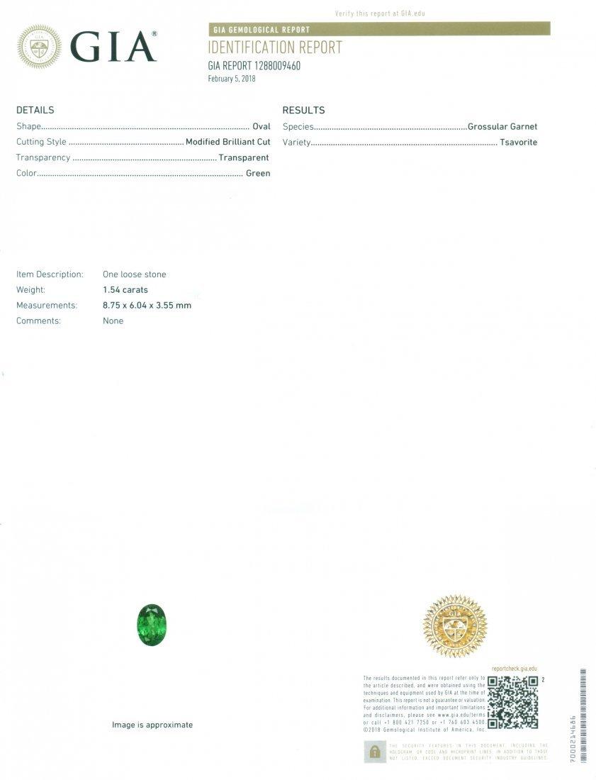 GIA Certified 1.54 ct. Tsavorite Garnet Untreated KENYA - 2