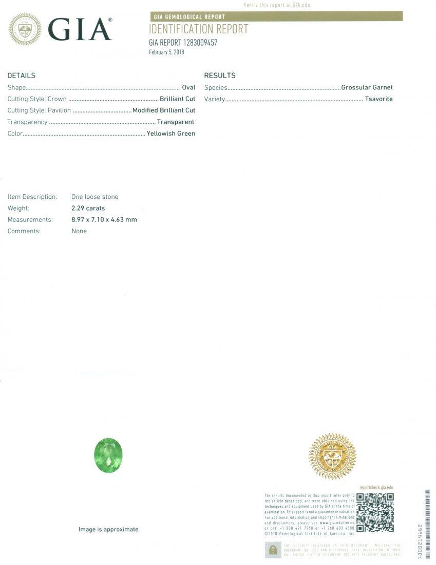 GIA Certified 2.29 ct. Tsavorite Garnet Untreated KENYA - 2