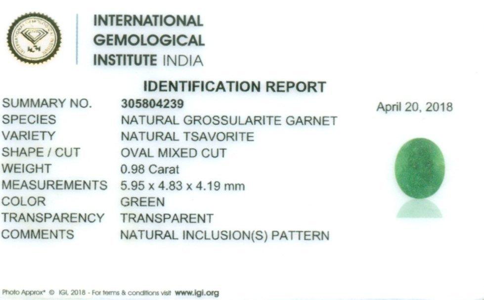 IGI Cert. 0.98 ct. Tsavorite Garnet Untreated KENYA - 2