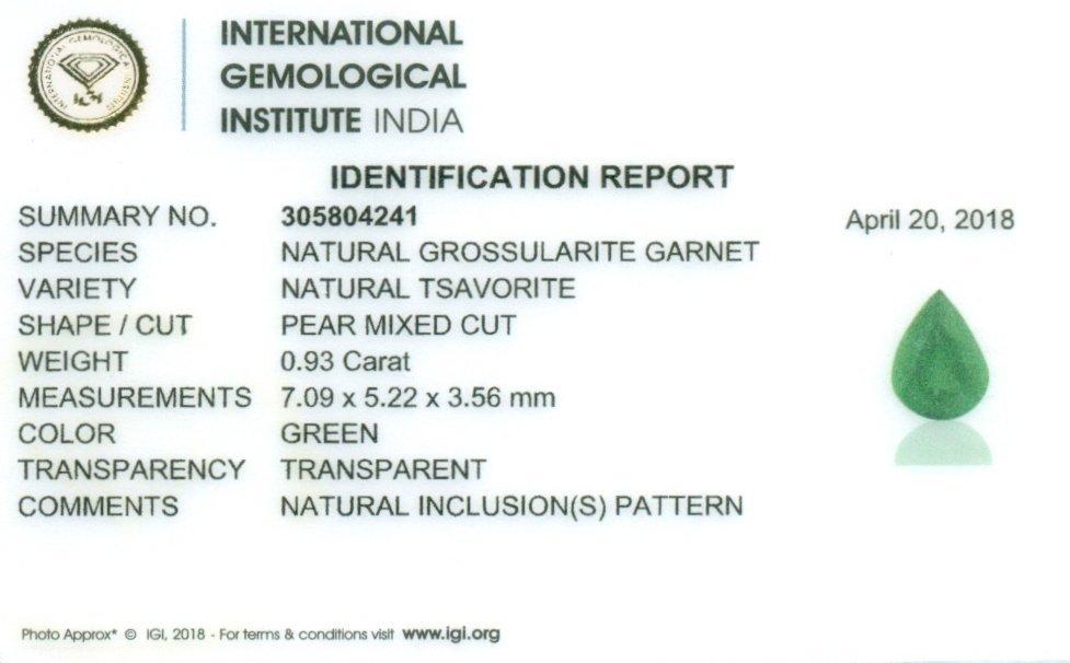IGI Cert. 0.93 ct. Tsavorite Garnet Untreated KENYA - 2