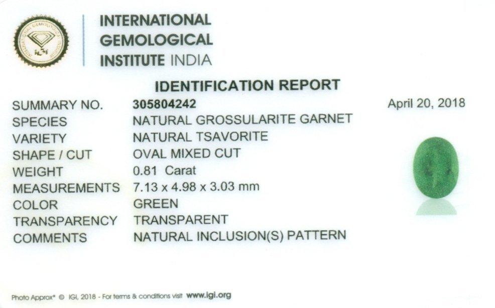 IGI Cert. 0.81 ct. Tsavorite Garnet Untreated KENYA - 2