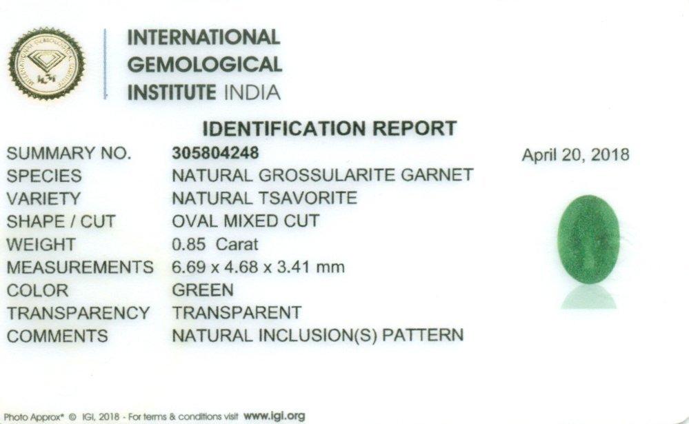 IGI Certified 0.85 ct. Tsavorite Garnet Untreated KENYA - 2