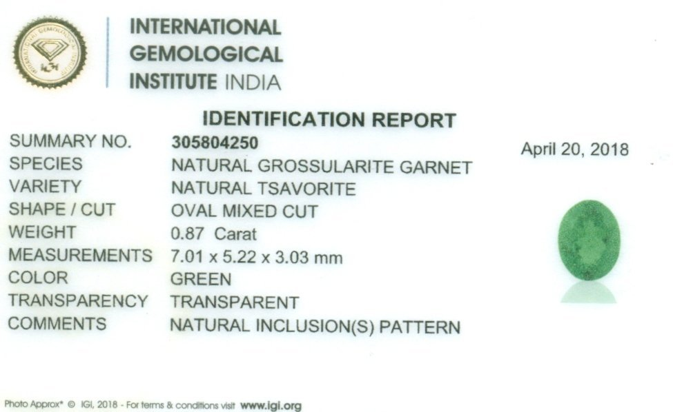 IGI Certified 0.87 ct. Tsavorite Garnet Untreated KENYA - 2