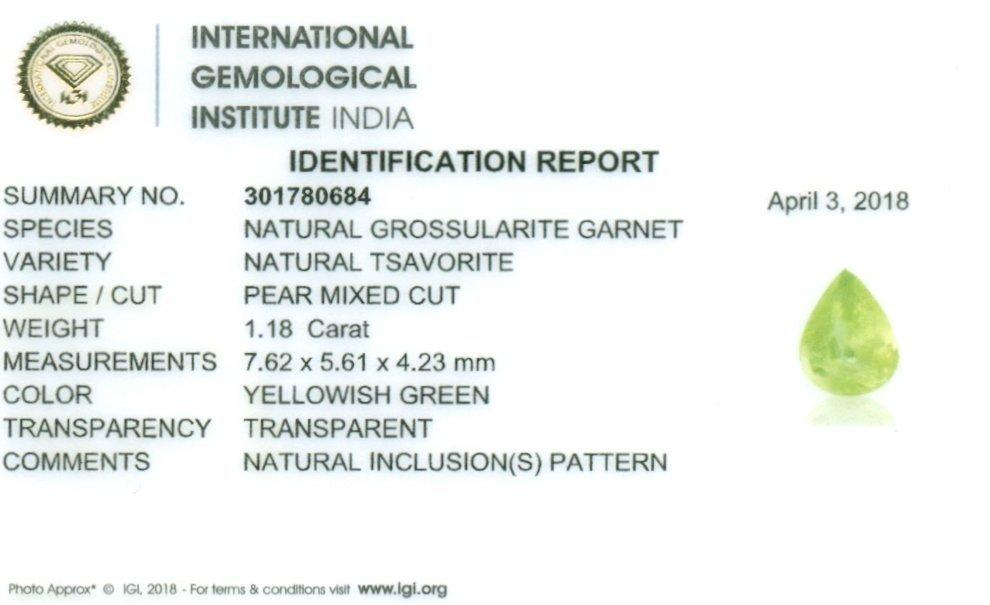 IGI Certified 1.18 ct. Tsavorite Garnet Untreated KENYA - 2